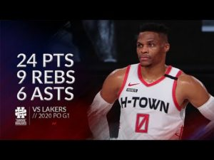 Russell Westbrook 24 pts 9 rebs 6 asts vs Lakers 2020 PO G1
