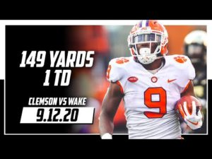 Travis Etienne Full Highlights Clemson vs Wake Forest | 149 Total Yards, 1 TD | 9.12.20