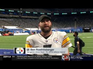 "Ben Roethlisberger ""on fire"" Pittsburgh Steelers def New York Giants 26-16: 3 TD 1st Game since 2019"
